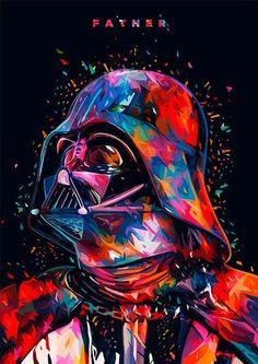 Star Wars Tribute: F A T H E R – Darth Vader portrait in Illustration Star Wars Pop Art, Film Star Wars, Star Trek, 3d Prints, Canvas Prints, Tableau Star Wars, Illustrator, Star Wars Wallpaper, Cool Wallpapers Star Wars