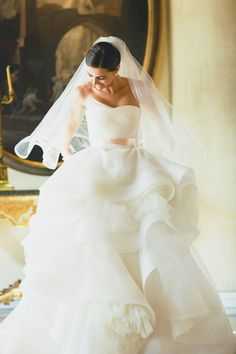 lovely bride wearing a Vera Wang Katherine wedding gown