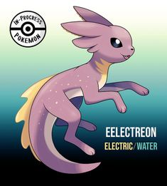 Eelectreon (Electric/Water) - On rare occasion, an Eevee can be affected by more than one environmental factor, and reacts to grow into a new, rare evolution. When Eevee who live by fresh bodies of water are exposed to frequent sources of. Solgaleo Pokemon, Pokemon Eevee Evolutions, Pokemon Breeds, Pokemon Fake, Pokemon Fusion Art, Pokemon Comics, Creepy Pokemon, Cute Pokemon Pictures, Pokemon Images