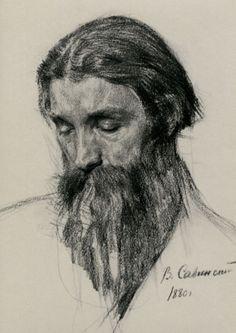 Male Portrait, Charcoal on Paper, Vasily Savinsky, 1880