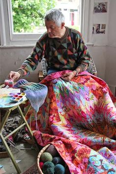 Most up-to-date Images kaffe fassett Needlepoint Suggestions Needlepoint is previously worked one stitch at the same time on even-weave canvas and it is very eas Sewing Crafts, Sewing Projects, Art Du Fil, Fair Isle Knitting, Fabric Art, Textile Art, Quilts, Funny Needlepoint, Needlepoint Pillows