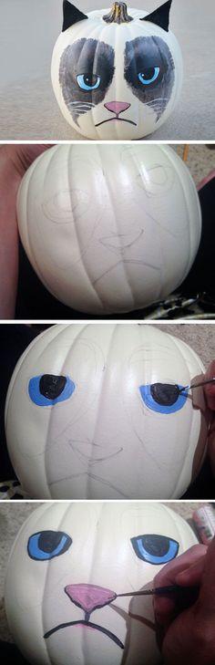 Grumpy Cat Pumpkin | DIY Halloween Outdoor Decorations