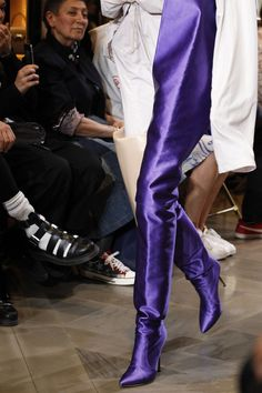 Vetements Vetements collaborated with Manolo Blahnik on hip-grazing boots in jewel tone satin that raised the bar on the thigh-high trend. The only question is: How will they top these in 2017?