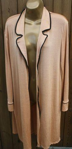 Gold Tan Zara Trafaluc Duster Jacket Coat Cardigan Black Trim Size UK S 8 10 Duster Jacket, Black Trim, Black Cardigan, Kaftan, Zara, Chiffon, Blazer, Coat, Sweaters
