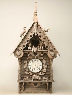 English Folk Art Dove Cote with Clock