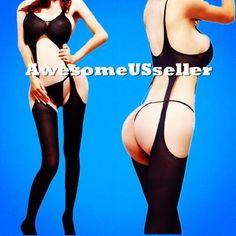XS-XXL Women sexy open crotch bodystocking suspender adult hot erotic dress#121