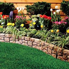 Stone flower beds borders luxury garden edging ideas of bed pavers river Garden Shrubs, Garden Edging, Garden Borders, Lawn And Garden, Wall Borders, Shade Garden, Garden Beds, Flowering Shrubs, Easy Garden