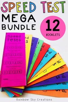Speed Test Mega Bundle. Help your students develop fluency in their number facts in order to become confident mathematicians! These booklets are designed to develop students fluency in recalling addition, subtraction, multiplication and division number facts. In total there are over 3000 questions for students to practice their mental math skills. #rainbowskycreations