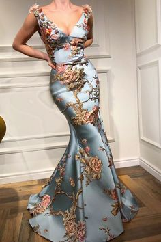 Fancy dresses - Sexy Deep V Collar Embroidery Floral Printed Fishtail Maxi Dress – Fancy dresses Fishtail Maxi Dress, Beautiful Gowns, Beautiful Maxi Dresses, Dress Brands, Pretty Dresses, Elegant Dresses, Awesome Dresses, Simple Dresses, Evening Dresses