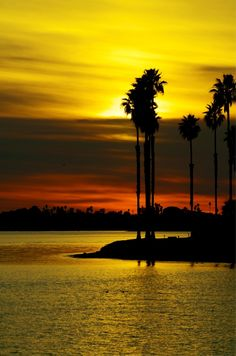 Yellow paints the sky in this sunset. Mission Bay, San Diego, California. Oh, how wonderful California is.