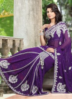 Purple Viscose Ready Pleated Saree