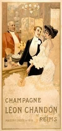Vintage Champagne Leon Chandon Champagne Fine Art Nouveau Print