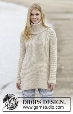"Knitted DROPS jumper in garter st with vent and detachable collar with rib in ""Cloud"". Size: S - XXXL. ~ DROPS Design"