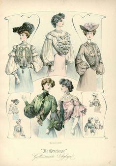 """Блузы эпохи модерна. Гравюры из журнала """"De Gracieuse"""", 1902-1903 гг."""