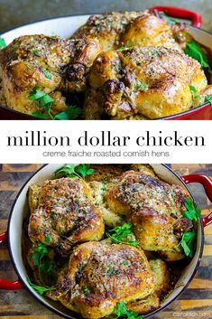 A succulent roasted chicken slathered in luxurious creme fraiche. It looks and t… A succulent roasted chicken slathered in luxurious creme fraiche. It looks and tastes like a million bucks! You've gotta make this immediately Best Roast Chicken Recipe, Best Roasted Chicken, Fried Chicken, Chicken Gravy, Roasted Cornish Hen, Cornish Hen Recipe, Cornish Hens, Creme Fraiche, Million Dollar Chicken