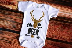 Oh Deer Shirt Baby Shower Gift Bodysuit Baby Girl Clothes Baby Girl Shirt Baby Clothes Baby Gift White And Gold Baby Girl Shirts, My Baby Girl, Our Baby, Shirts For Girls, Deer Shirt, Oh Deer, Everything Baby, Baby Kids Clothes, Baby Time
