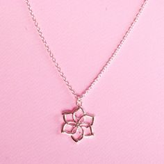 Silver Rose Necklace Silver Tone Rose by HandmadeJewelryGr