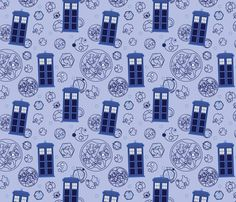 Madman in a Blue Box fabric by studiofibonacci on Spoonflower - custom fabric $18 yd kona cotton 2 or 3 yards and I can make a skirt or dress :)
