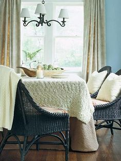 blankets as tablecloths = cozy fall or winter table