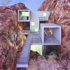 """Art & Architecture: """"Concrete house in a red canyon, designed & visualized by . to be feature"""" Architecture Design, Concrete Architecture, Futuristic Architecture, Beautiful Architecture, Contemporary Architecture, Landscape Architecture, Concrete Houses, House On The Rock, Brutalist"""