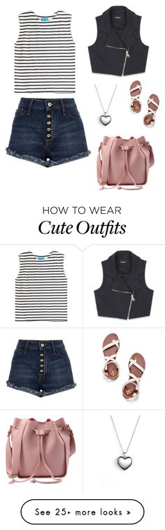 """Cute Summer Outfit"" by lsantana13 on Polyvore featuring M.i.h Jeans, River Island, Bebe, Pandora and Tory Burch"
