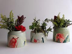 Cache-pot Sauge et Vase Rouge-Gorge