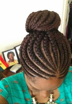 French braids w/bun protective style