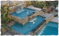 triple layered pool with fountains