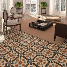 This Wickes Dorset Marron floor tile creates a modern and unique ambience whilst capturing that classic Victorian aura. Floor Patterns, Mosaic Patterns, Wall Patterns, White Patterns, Wet Room Flooring, Vinyl Flooring, Discount Tile, Traditional Tile, French Architecture