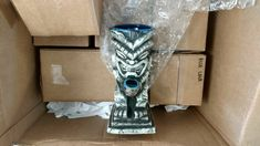 Back in stock at KahunaKevin.com! Blue Lava Idol Bastard Tiki Mugs w/ real white gold clad bowl. Handmade in USA. Super detailed, these are incredible! Only a few left on hand after shipping my backorders since December. Cheers! KK