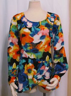 NEW Womens Ladies NY COLLECTION Bold Vibrant Floral Print Silky Shirt Top L #NYCollection #SILKYTOP #VERSTATILE