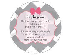 Girl Preemie newborn baby car seat tag baby shower by TagsforTots