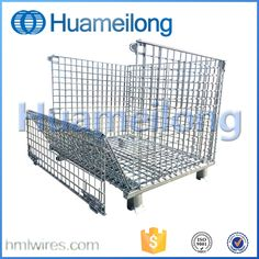 China industrial storage welded wire mesh container with wheels