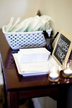 guests fill out address on envelope for thank you cards. LOVE this idea.
