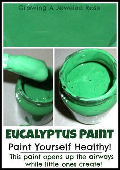Soothing homemade paint recipe  (7 fun ideas for kids activities using eucalyptus in the winter to help with congestion)