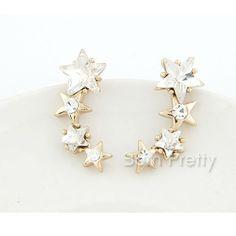 Pretty star earrings @BornPrettyStore, Trendy Opulent Stars Earrings Shiny Rhineston... at $5.37. http://www.bornprettystore.com/-p-11832.html
