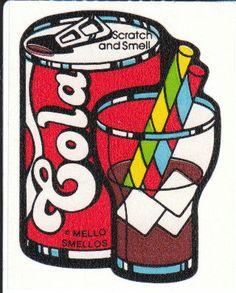 Vintage Mello Smello Scratch and Sniff Cola Soda Sticker 80's Very Rare. via Etsy.
