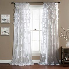 Lush Decor Riley Window Curtain Panel - Overstock™ Shopping - Great Deals on Lush Decor Curtains 9 I really like brown ones better Colorful Curtains, White Curtains, Drapes Curtains, Patterned Curtains, Rustic Curtains, Window Drapes, Bay Window, Valance, Girls Bedroom Curtains