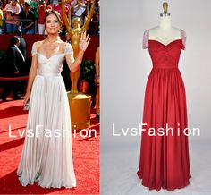 Straps with Beading Short Sleeves Red Chiffon Prom Dresses, Evening Gown, Party Dresses. $179.00, via Etsy.