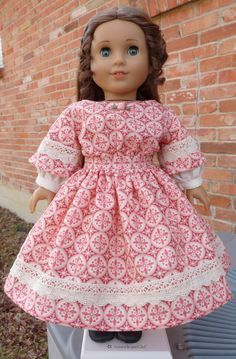 "18"" Doll Clothes Historical Civil War Style Gown for Valentines Day Fits American Girl Marie Grace, Cecile, Addy"