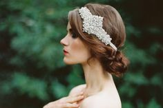 Elegant, beaded crystal headpiece for vintage brides