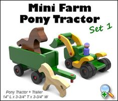 "Plan Set Description: Pony Tractor and Trailer are 14"" L x 3-3/4"" T x 3-3/4"" W. Favorite at crafts shows for both boys and girls! Same scale as Mini Constructors, Freaky Fords and Martin Motors. Color 8-1/2"" x 11"" pages with black & white pattern pages."