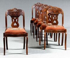 6 Thomas Day transitional chairs with saber legs