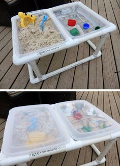 How to Make a Portable DIY Water Table? : Diy Water Table For Toddlers. Diy water table for toddlers. Sand And Water Table, Water Tables, Sand Table, Water Table Diy, Water Table For Kids, Toddler Water Table, Pvc Pipe Projects, Projects For Kids, Pvc Pipe Crafts