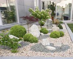 Front Garden Sculptures Modern With Gravel - Garden Design Ideas Rockery Garden, Gravel Garden, Garden Stones, Garden Paths, Landscaping With Rocks, Front Yard Landscaping, Landscaping Ideas, Modern Garden Design, Landscape Design