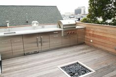 """Modern Deck with Woodland Direct 24"""" x 24"""" Square Crystal Burner, Fire pit, Outdoor kitchen"""