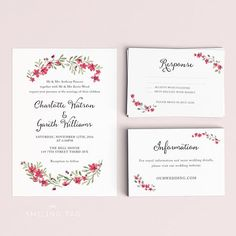 Printable Wedding Invitation Set - Watercolor Floral Garden - Ready to Print PDF - rsvp card - Letter or A4 Size (Item code: P670)