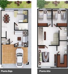 Perfect for my dream home. only few enhancement for gallery. Dream House Plans, Modern House Plans, Small House Plans, House Floor Plans, Plantas Duplex, House Map, Narrow House, Sims House, Home Design Plans