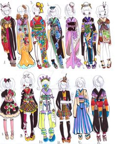 Kimono designs 2 - by Guppie-Adopts on DeviantArt Chibi, Kimono Design, Dibujos Cute, Anime Dress, Fanarts Anime, Drawing Clothes, Anime Outfits, Fashion Sketches, Cute Drawings