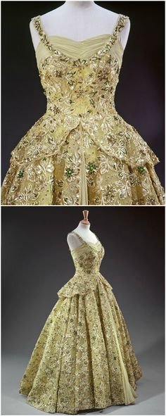 Evening dress designed by Norman Hartnell for Queen Elizabeth II, 1950s. The Royal Collection © 2008, Her Majesty Queen Elizabeth II. (Via Fripperies and Fobs Tumblr.)